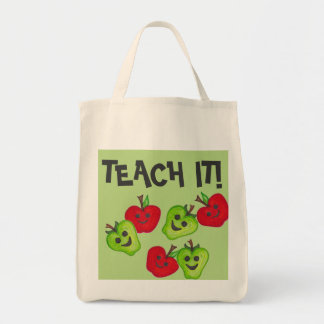 """Happy Apples Teacher"" Green & Red Tote Bag"