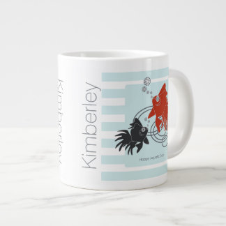 Happy Aquatic Days – Cute Funny Goldfish Large Coffee Mug