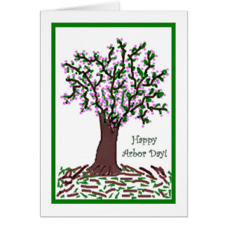 Happy Arbor Day Artistic Blooming Tree Card