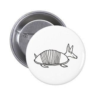 Happy Armadillo unique whimsical line drawing art Pin