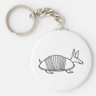 Happy Armadillo unique whimsical line drawing art Keychain