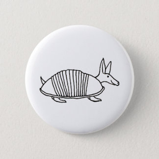 Happy Armadillo unique whimsical line drawing art Pinback Button