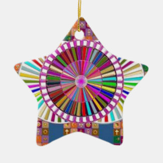 HAPPY ART:  CHRISTMAS HOLIDAYS FESTIVALS Double-Sided STAR CERAMIC CHRISTMAS ORNAMENT