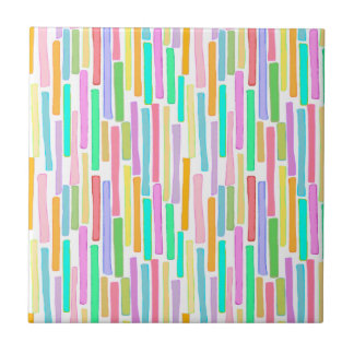 Happy art stripes fun colorful painting ceramic tile