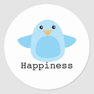 Happy as a Bluebird Classic Round Sticker