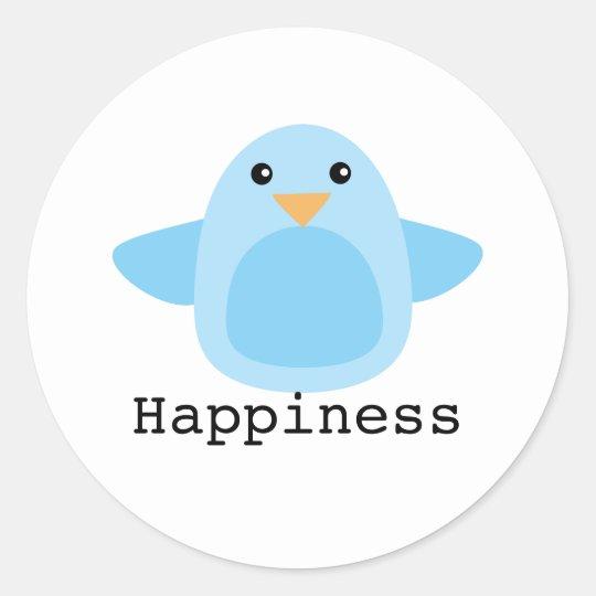 Happy as a Bluebird Classic Round Sticker