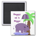 Happy as a Hippo 2 Inch Square Magnet