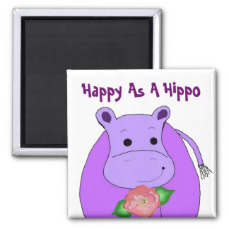 Happy As A Hippo Magnets