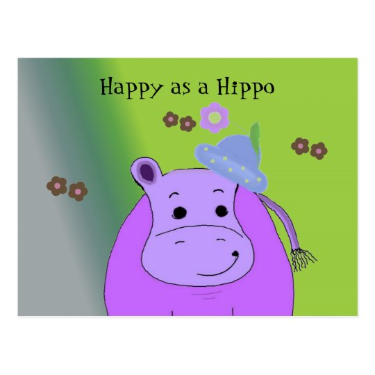 Happy as a Hippo - Purple Hippopotamus Postcard