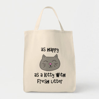 Happy as a kitty with fresh litter tote bag