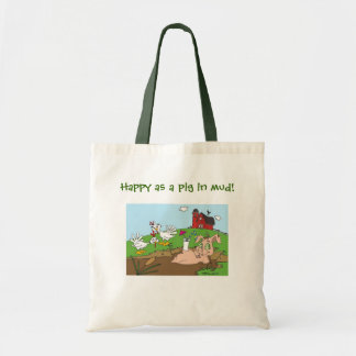 Happy as a pig in mud! canvas bags