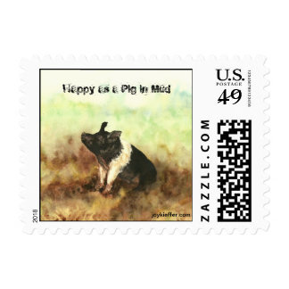 """Happy as a Pig in Mud"" Postage Stamps"