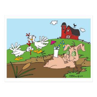 Happy as a pig in mud! postcard