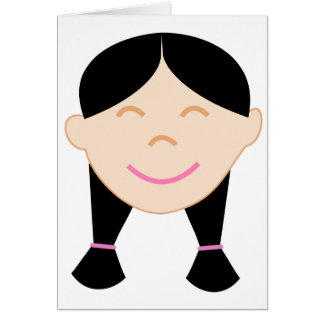 Happy Asian Girl Face Card