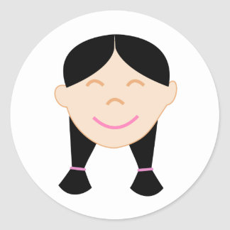 Happy Asian Girl Face Classic Round Sticker