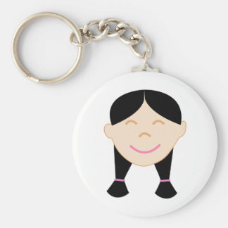 Happy Asian Girl Face Keychain
