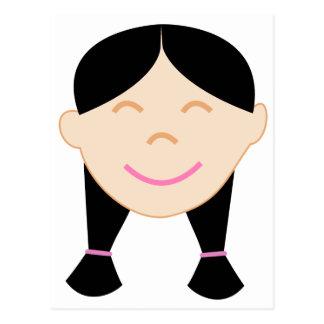 Happy Asian Girl Face Postcard