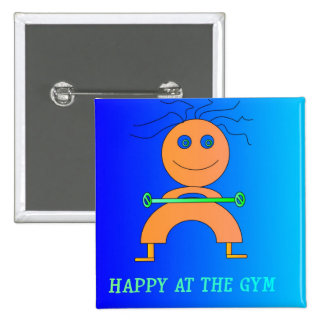 Happy at The Gym> Cute Childrens Button