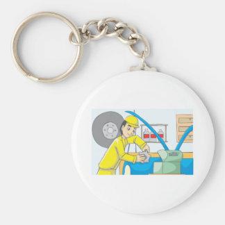 Happy Automobile Mechanic Worker Basic Round Button Keychain