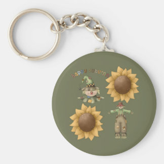 Happy Autumn Basic Round Button Keychain