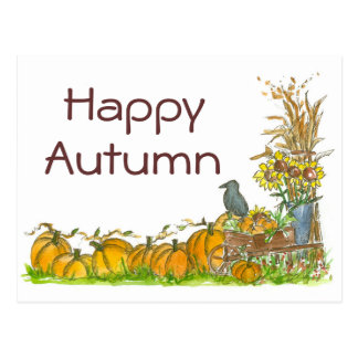 Happy Autumn Black Crow Pumpkins Harvest Postcard