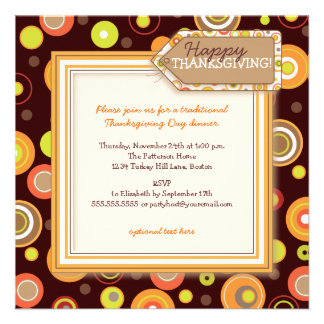 Happy Autumn Dots Retro Thanksgiving Dinner Personalized Announcements