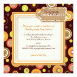Happy Autumn Dots Retro Thanksgiving Dinner 5.25x5.25 Square Paper Invitation Card