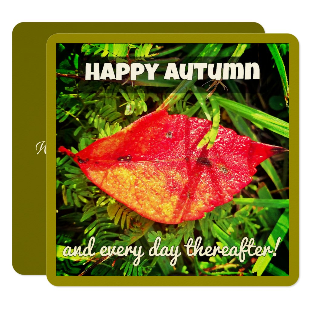 Happy Autumn greeting cards with fall leaf, verse