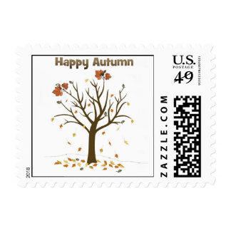Happy Autumn Postage Stamp