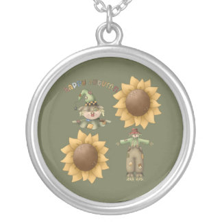 Happy Autumn Round Pendant Necklace