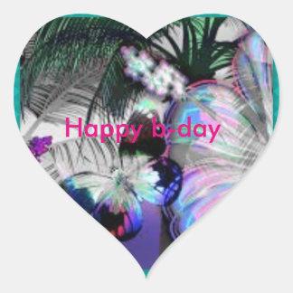 happy b-day heart sticker