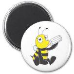 Happy Baby Bee Drinking Milk Fridge Magnet