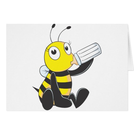 Happy Baby Bee Drinking Milk Greeting Cards
