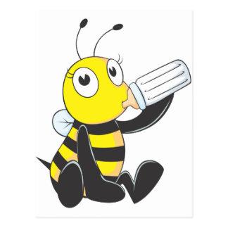 Happy Baby Bee Drinking Milk Postcards