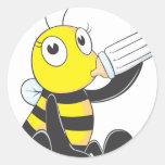 Happy Baby Bee Drinking Milk Sticker
