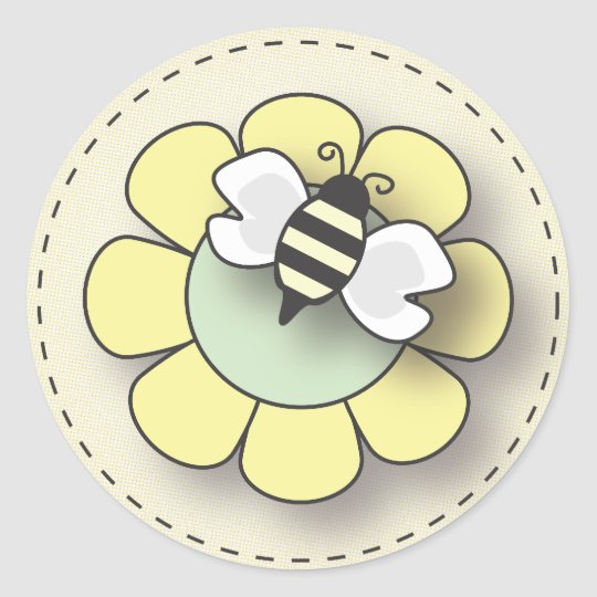 Happy Baby Bee in Yellow Classic Round Sticker
