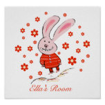 Happy Baby Bunny Children's Poster