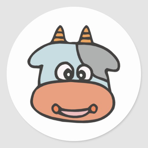 happy baby cow face round stickers