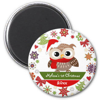 Happy Baby Owl 1st Christmas Magnet