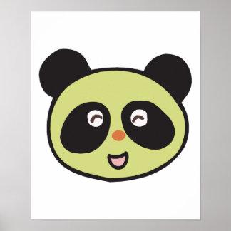happy baby panda face poster