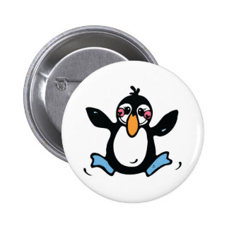 happy baby penguin button