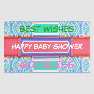 Happy Baby Shower - Chinese Lucky Colour Pattern Rectangular Sticker