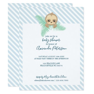 Cute Sloth Baby Shower Invitation | Zazzle.com