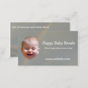 Resale shop business cards templates zazzle happy baby with rainbow business cards reheart Gallery