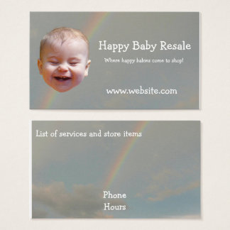 Happy baby with rainbow business cards