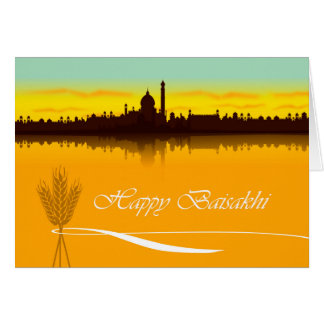 Happy Baisakhi, Cityscape Silhouette in India Card