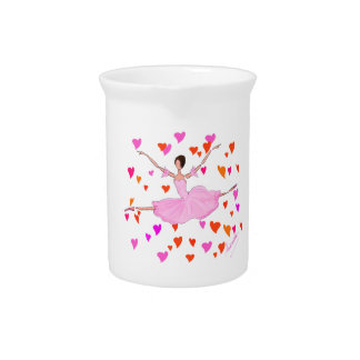Happy Ballerina with Colorful Hearts Pitcher