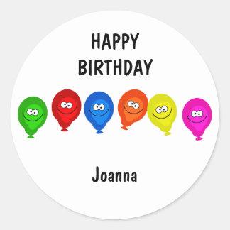Happy Balloons, HAPPYBIRTHDAY, Classic Round Sticker