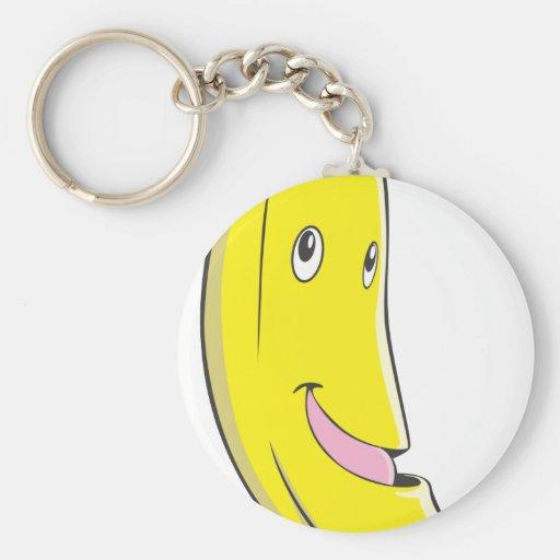 Happy Banana Fruit Smiling Basic Round Button Keychain