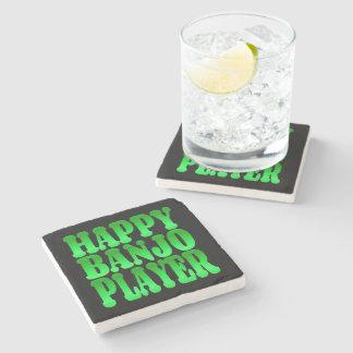 Happy Banjo Player in Green Stone Beverage Coaster